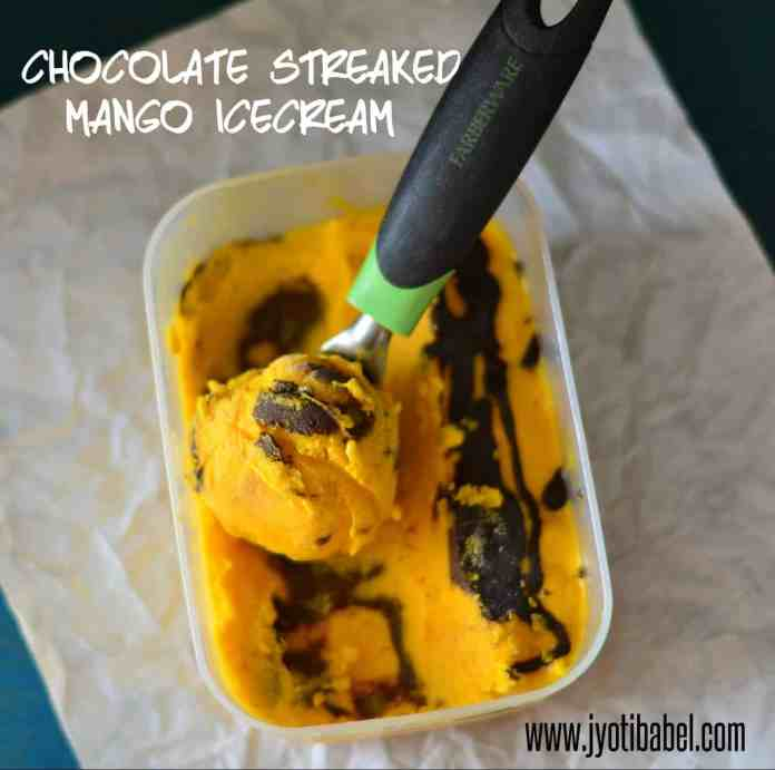 chocolate streaked mango icecream
