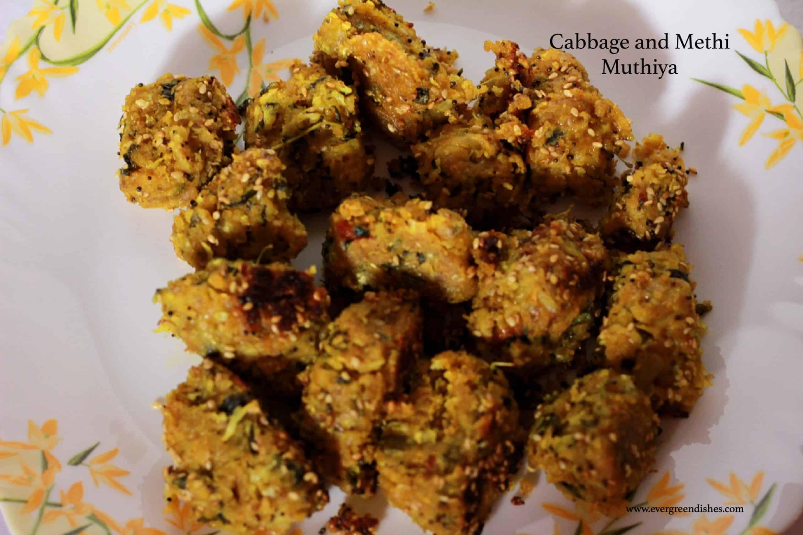 cabbage and methi muthiya