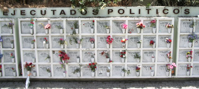 Funeral urns of political activists executed under the military regime of Pinochet