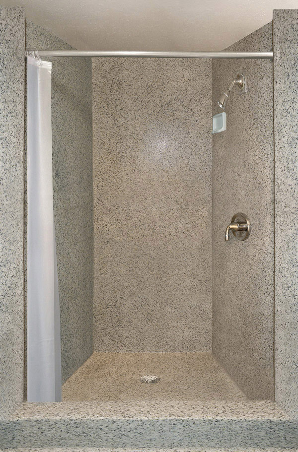 antimicrobial shower floors walls for public wet spaces