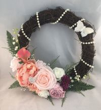 FRONT DOOR WALL DECOR VINTAGE TWIG WREATH FLOWERS ...