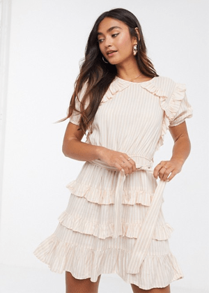 asos peach striped ruffle mini dress brookie