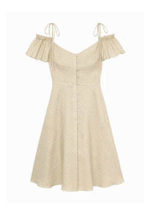 colleen beige gal meets glam dress polka dot flutter sleeve