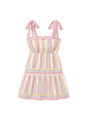 gal meets glam kim pastel rainbow stripe bow shoulder linen dress brookie