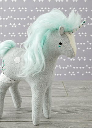 green unicorn toy crate and barrel