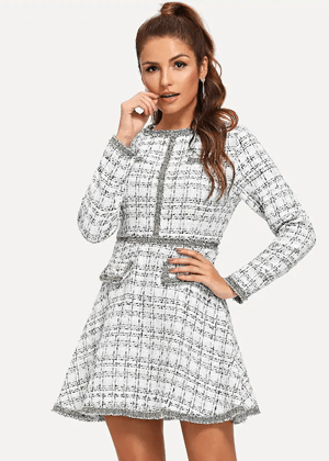 silver white tweed flare dress shein brookie