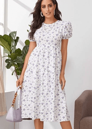 white floral purple puff sleeve midi dress brookie shein