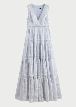 blue eyelet tiered maxi dress brookie shein premium