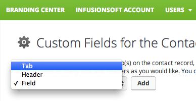 Infusionsoft Custom Field Options