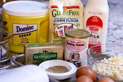 butter, sugar, eggs, salt, baking powder, ground coriander, milk