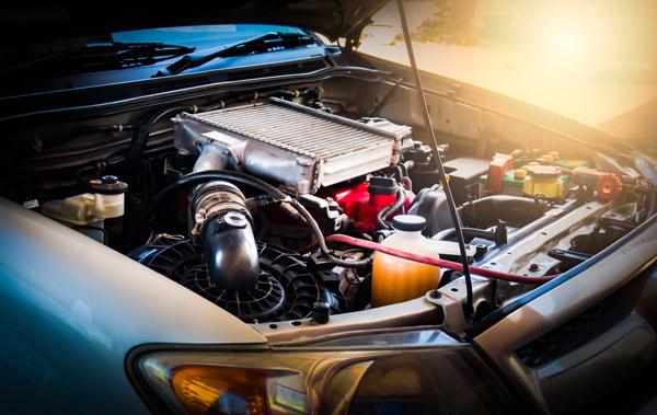 Car hood open showing automotive components
