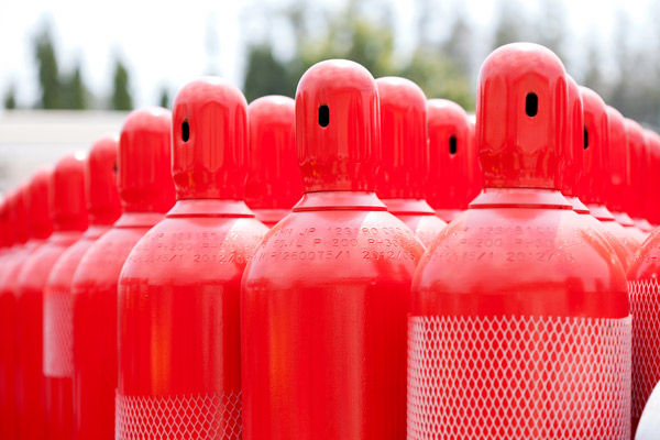 Specialty gas cylinders for the production of semiconductors.