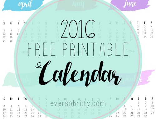 2016 Free Printable Calendar at eversobritty.com