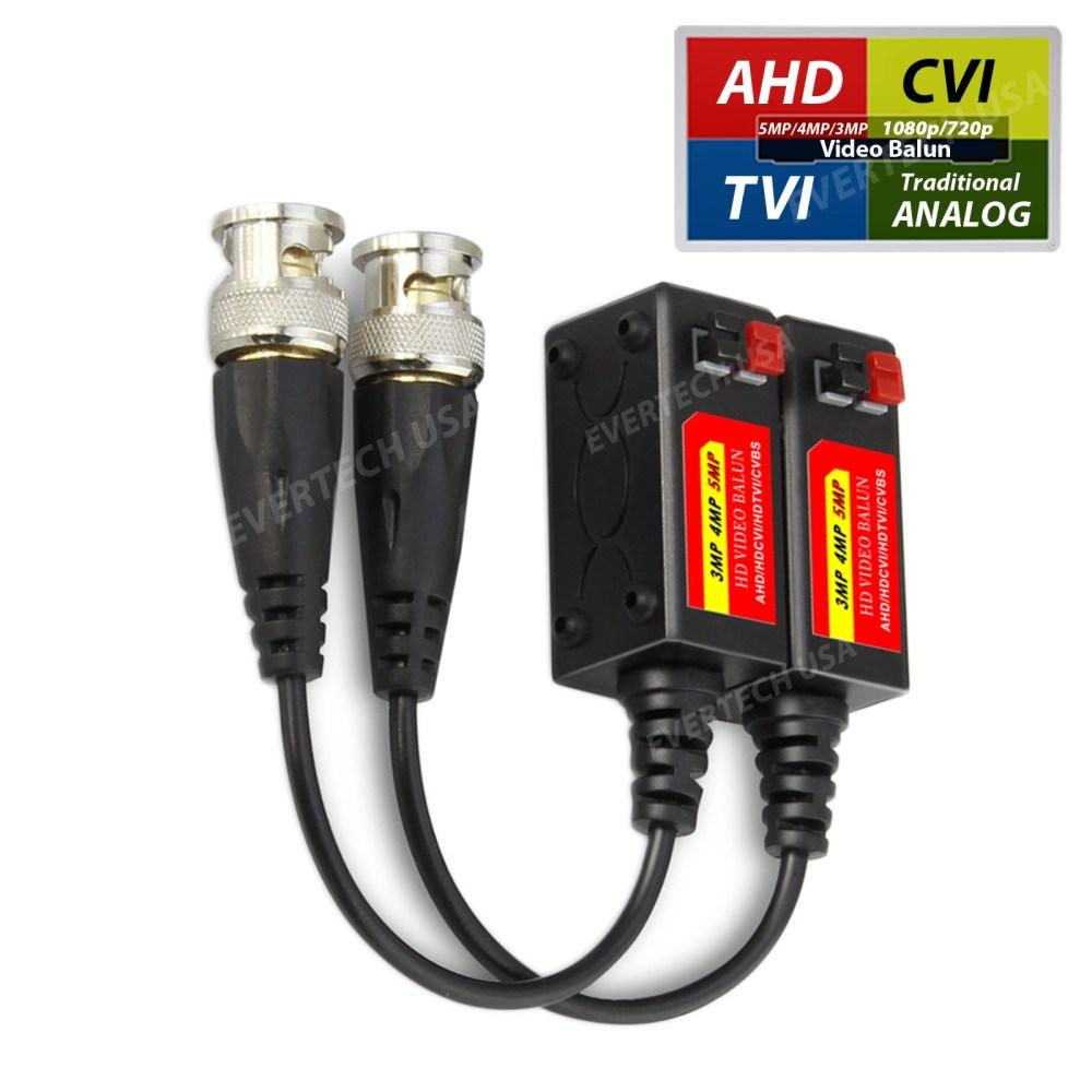 medium resolution of ev bl945 1 pair 2 pcs hd 5mp passive transceiver toolless cctv video balun compact size cat5 cat6 evertech usa