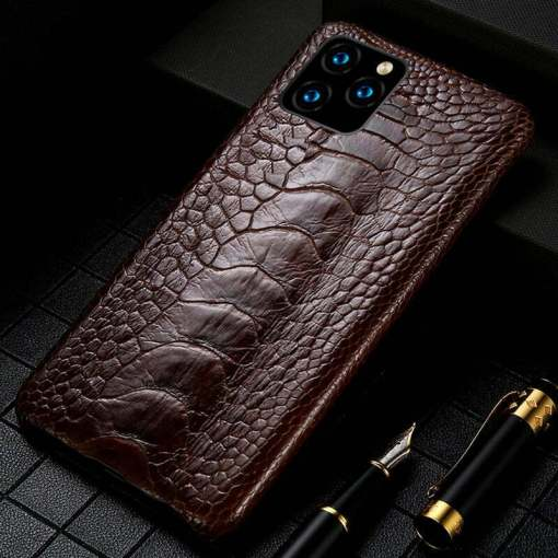 Genuine Ostrich Leg Leather iPhone 12 Pro Max Case