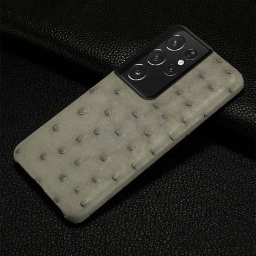 Real Ostrich Skin Case For Samsung Galaxy S21 Ultra Note 20