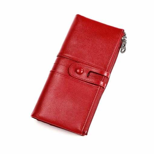 Cowhide Women Wallet Money Clip Purse Red