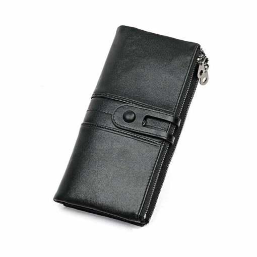 Cowhide Women Wallet Money Clip Purse Black