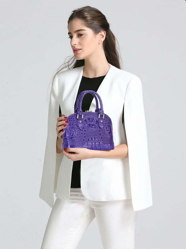 Women's Crocodile Bone Texture Leather Luggage Tote Bag