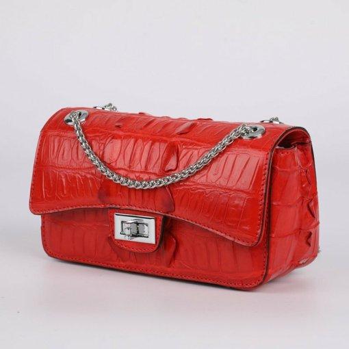Genuine Crocodile Shoulder Bag Evening Crocodile Purse Red