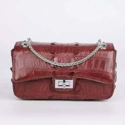 Genuine Crocodile Shoulder Bag Evening Crocodile Purse Wine Red