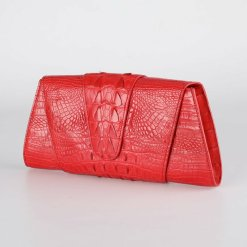 Crocodile Leather Banquet Purse Wallet Evening Handbag Red