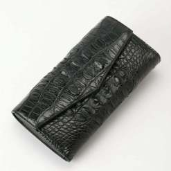 Womens Evening Crocodile Purse Wallet Clutch Bag Black