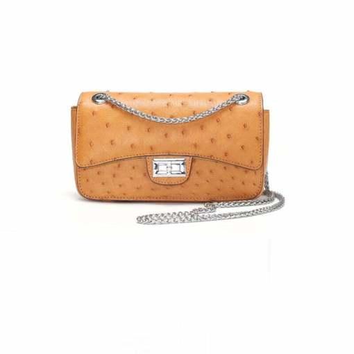 Women's Ostrich Handbag Shoulder Bag Tote Purse Yellow