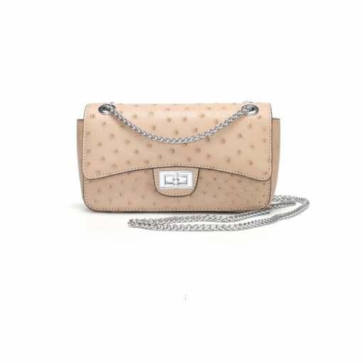 Women's Ostrich Handbag Shoulder Bag Tote Purse Beige