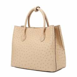 Women's Ostrich Handbag Shoulder Bag Tote Purse Apricot