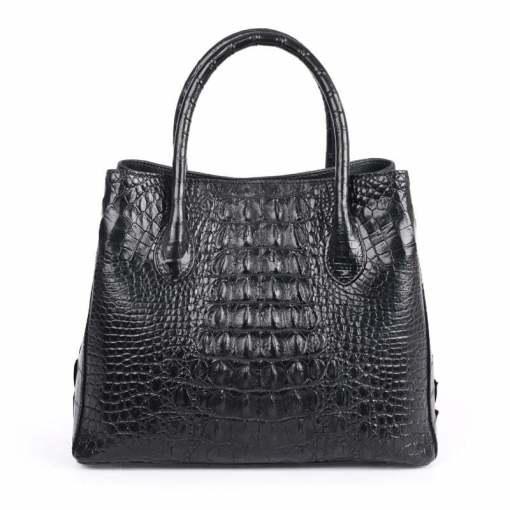 Womens Crocodile Skin Hornback Handbag Tote Zippers Bag Black