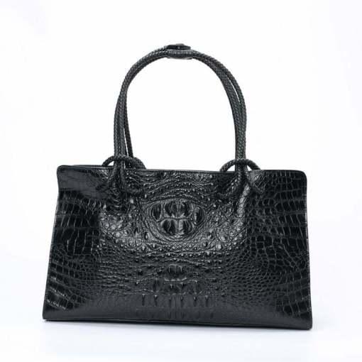 Women's Genuine Crocodile Leather Satchel Shoulder Bag Black