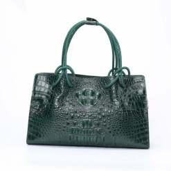 Women's Genuine Crocodile Leather Satchel Shoulder Bag Dark Green