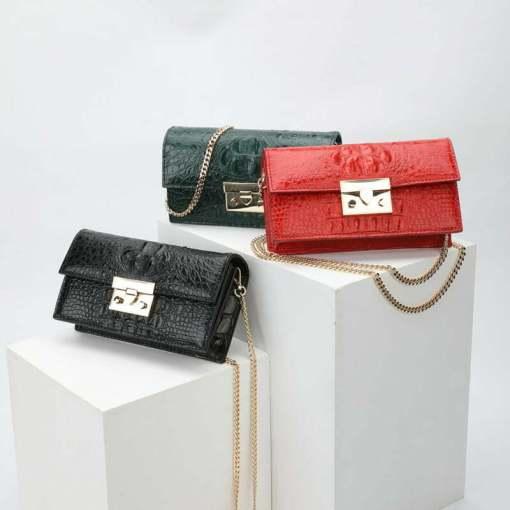 Women Genuine Crocodile Chain Shoulder Bag