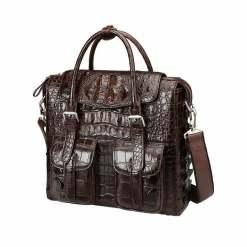 Crocodile Briefcase Shoulder Cross-body Business Bag Brown