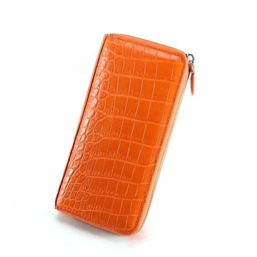 Genuine Croc Womens Wallet Alligator Purse Clutch Orange