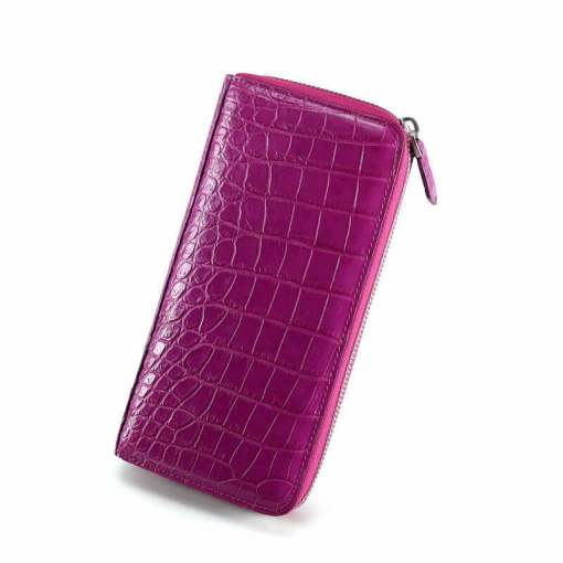 Genuine Croc Womens Wallet Alligator Purse Clutch Purple