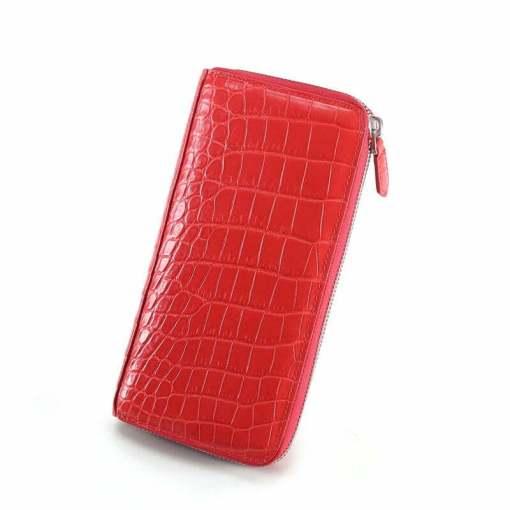 Genuine Croc Womens Wallet Alligator Purse Clutch Red