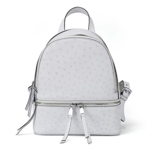 Genuine Ostrich Backpack for Women Elegant Ladies Travel Shoulder Bag White