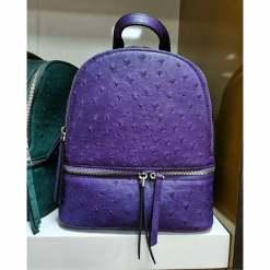 Genuine Ostrich Backpack for Women Elegant Ladies Travel Shoulder Bag Purple