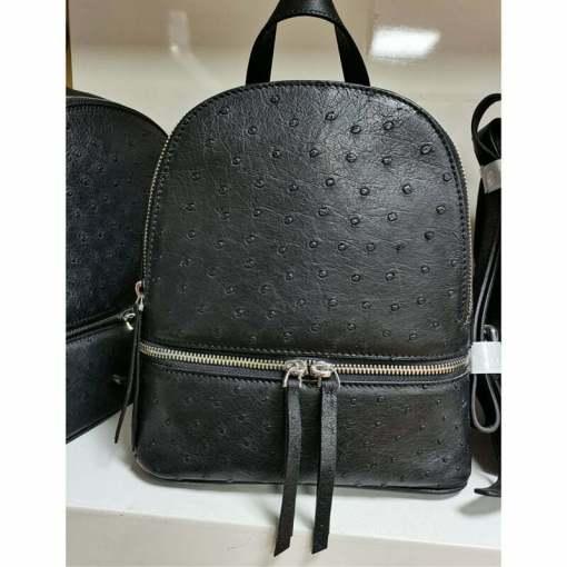 Genuine Ostrich Backpack for Women Elegant Ladies Travel Shoulder Bag Black