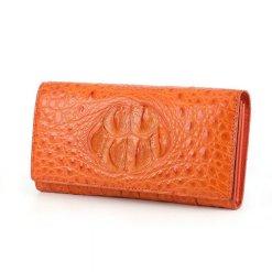 Genuine Crocodile Hornback Leather Womens Wallet Orange