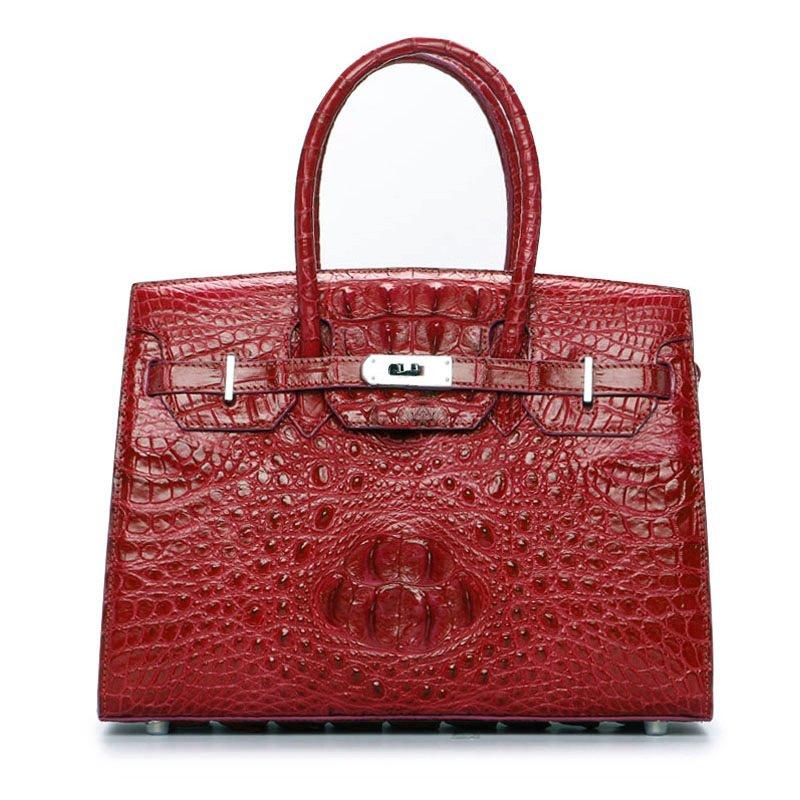 Genuine Crocodile Leather Women's Handbags Alligator Shoulder Bag Red