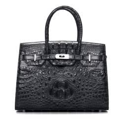Genuine Crocodile Leather Women's Handbags Alligator Shoulder Bag Black
