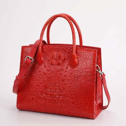 Women Genuine Crocodile Handbag Ladies Shoulder Bag Red