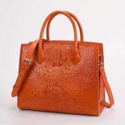 Women Genuine Crocodile Handbag Ladies Shoulder Bag Orange