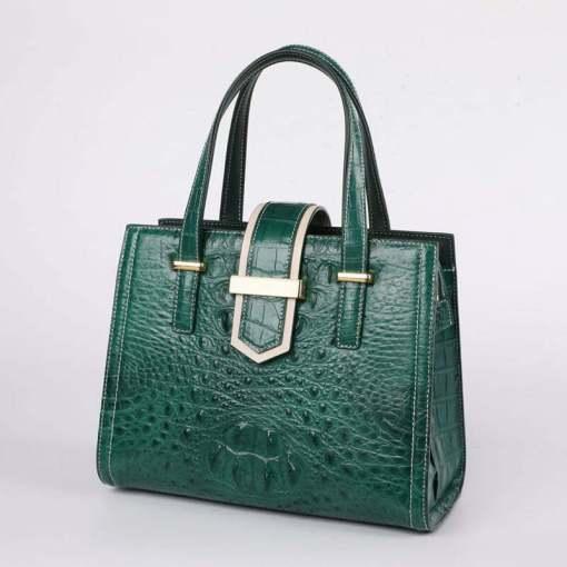 Women Real Crocodile Handle Bag Alligator Shoulder Bag Dark Green