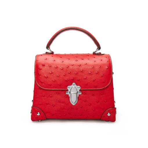 Genuine Ostrich Leather Womens Tote Handbag Red