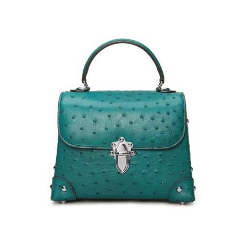 Genuine Ostrich Leather Womens Tote Handbag Dark Green
