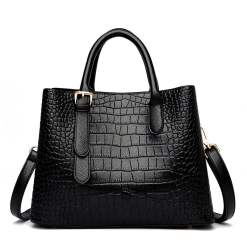 Crocodile Texture PU Leather Tote Shoulder Bag Black